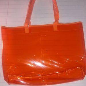Clinique Orange clear tote bag NWT
